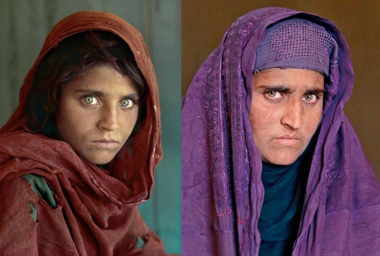 Sharbat Gula, la niña afgana de ojos verdes, de joven y de adulta