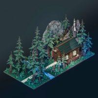 Cabaña en el bosque, por Sir Carma (Voxel Art)