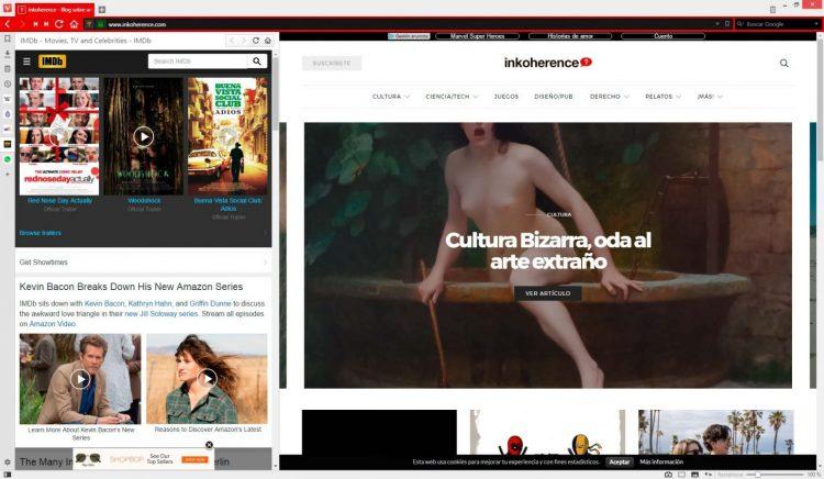 Panel lateral del navegador Vivaldi
